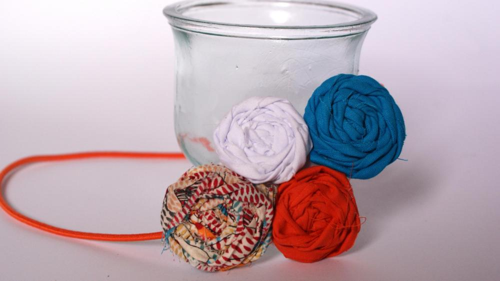 Orange, blue and white rosette headband