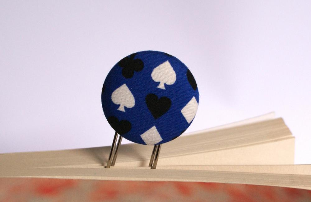 Card suit fabric covered button bookmark